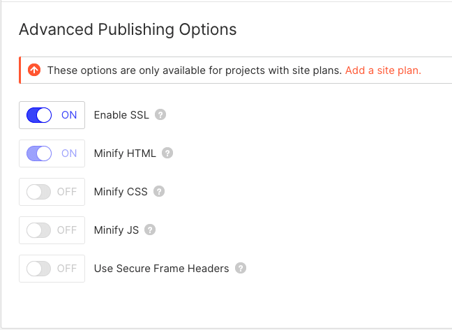 Advanced Publishing Options in webflow